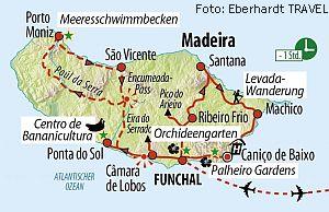 Reiseroute Madeira Silvesterreise